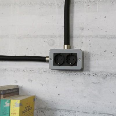 Caja de pared de metal con doble enchufe Schuko para Creative-Tube