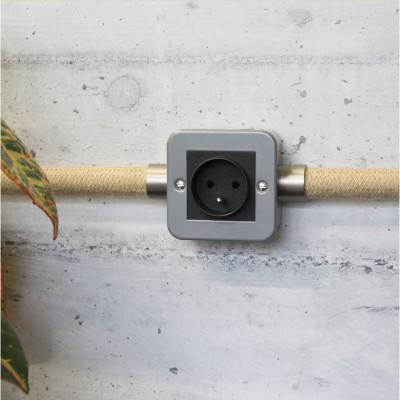 Caja de pared de metal con enchufe francés para Creative-Tube