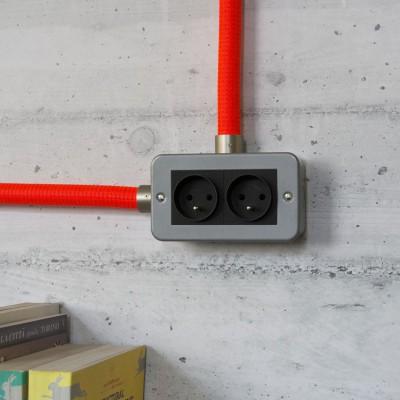 Caja de pared de metal con doble enchufe francés para Creative-Tube