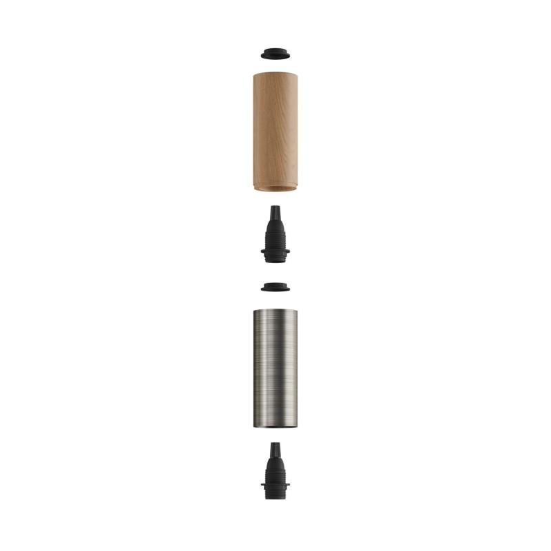 Tub-E14, tubo en madera y metal para foco con portalámparas de doble rosca E14
