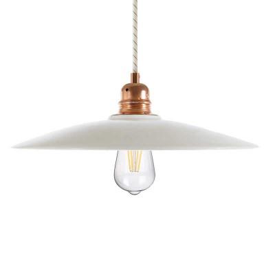 Lámpara colgante hecha en Italia con cable textil, pantalla de cerámica Plato en metal
