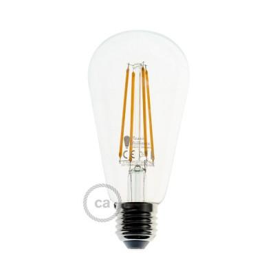 Bombilla Transparente LED Edison ST64 Filamento Largo 7,5W E27 Decorativa Vintage Dimmable 2200K
