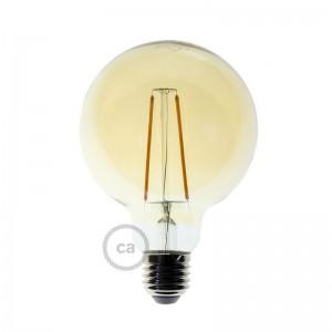 Lampadina Dorata LED Globo G95 Filamento Lungo 4W E27 Decorativa Vintage 2000K
