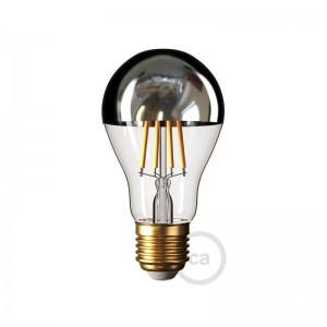 Silver half sphere Drop A60 LED light bulb 7W E27 2700K Dimmable
