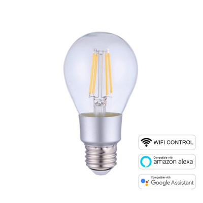 A60 Smart Wifi Bombilla LED Gota transparente Filamento recto 6W E27 Regulable 2700K