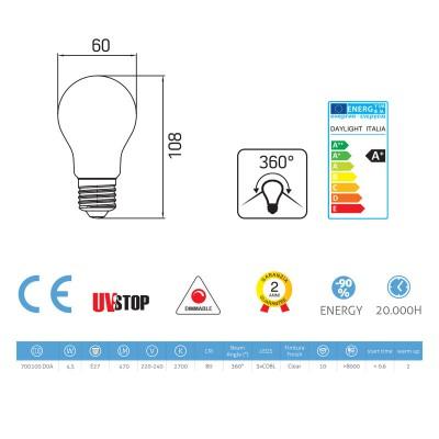 Bombilla filamento Led Gota 4.5W E27 Clara Regulable 2700K