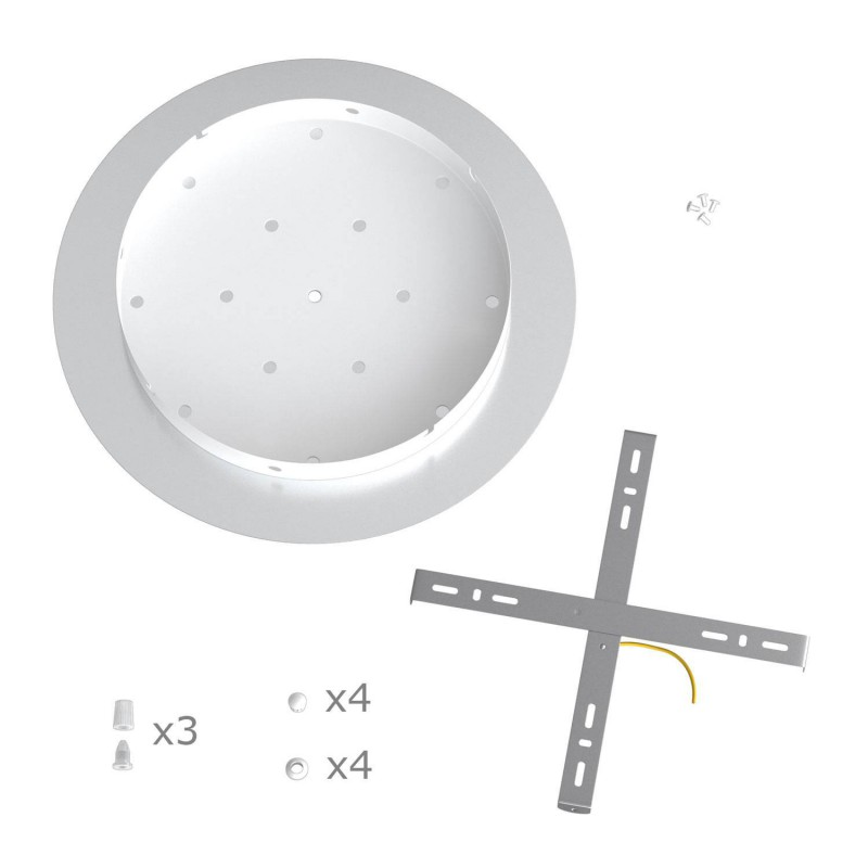 Round XXL Rose-One 3-hole and 4 side holes ceiling rose Kit, 400 mm