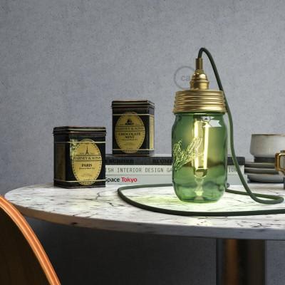 Kit de iluminación para tarro de vidrio en metal color Oro, prensaestopa cilíndrico y portalámparas E14 en metal latón