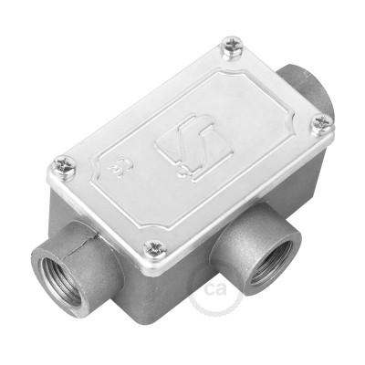 Caja de conexiones 3 salidas, forma de T, para Creative-Tube, caja de aluminio
