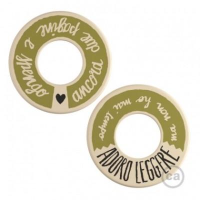 MINI-UFO: disco de madera reversible READING BALLSH*T colección, tema ADORO LEGGERE + DUE PAGINE