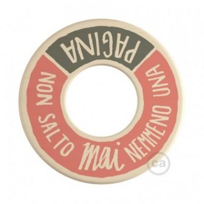 MINI-UFO: disco de madera reversible READING BALLSH*T colección, tema PAGINA + PROFUMO DELLA CARTA