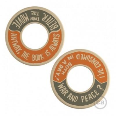 MINI-UFO: disco de madera reversible READING BALLSH*T colección, tema WAR&PEACE + BETTER THAN THE MOVIE