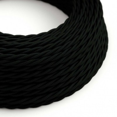 Twisted Electric Cable covered by Rayon solid color fabric TM04 Black