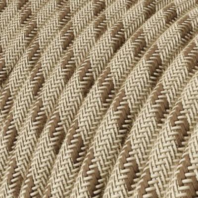 Cable Eléctrico Redondo Recubierto en Algodón Stripes color Corteza y Lino Natural RD53