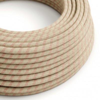 Cable Eléctrico Redondo Recubierto en Algodón Stripes color Rosa Viejo y Lino Natural RD51