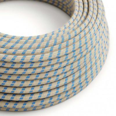 Cable Eléctrico Redondo Recubierto en Algodón Stripes Azul Steward y lino Naturel RD55