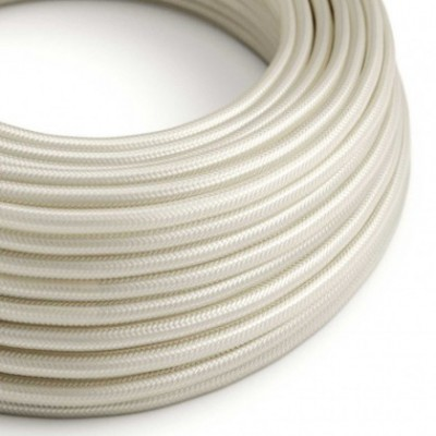 Round Electric Cable covered by Rayon solid color fabric RM00 Ivory