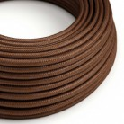 Cable Eléctrico Redondo recubierto en tejido efecto Seda Color Sólido Herrumbre RM36