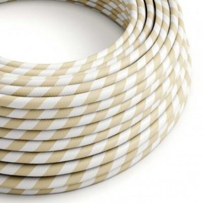 Cable Eléctrico redondo Vertigo HD recubierto en Textil Crema y Avellana ERM56