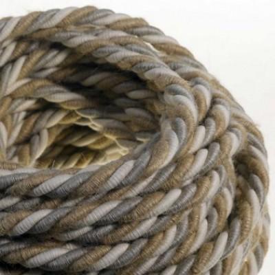 Cordon XL, cable eléctrico 3x0,75. Revestimiento de yute, algodón y lino Country. Diámetro: 16mm.