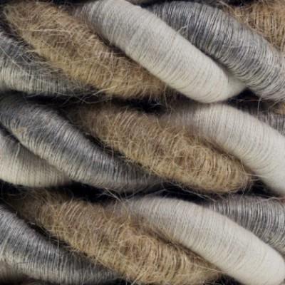 Cordon 2XL, cable eléctrico 3x0,75. Revestimiento de yute, algodón y lino Country. Diámetro: 24mm.