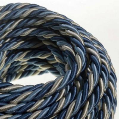 Cordon XL, cable eléctrico 3x0,75. Revestimiento de tejido lucído Bernadotte. Diámetro: 16mm.