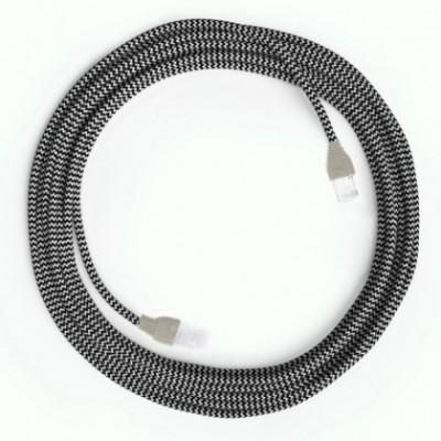 Cable Lan Ethernet Cat 5e con conectores RJ45 - RZ04 Efecto Seda Blanco y Negro