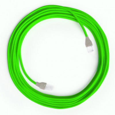 Cable Lan Ethernet Cat 5e con conectores RJ45 - RF06 Efecto Seda Verde Fluo