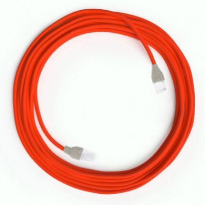 Cable Lan Ethernet Cat 5e con conectores RJ45 - RF15 Efecto Seda Naranja Fluo