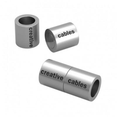 Matt silver magnetic clasp for bracelets with logo - 5 pcs