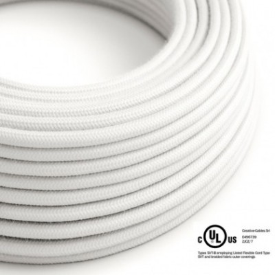 Round Electric Cable 150 ft (45,72 m) coil RC01 White Cotton - UL listed