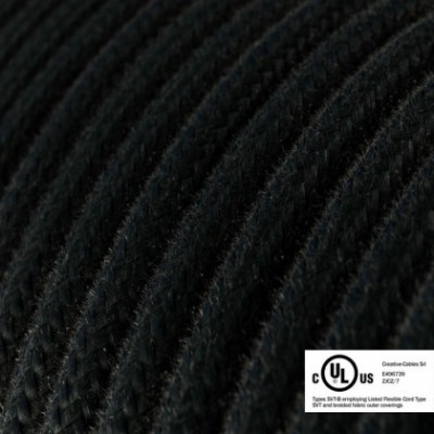 Round Electric Cable 150 ft (45,72 m) coil RC04 Black Cotton - UL listed