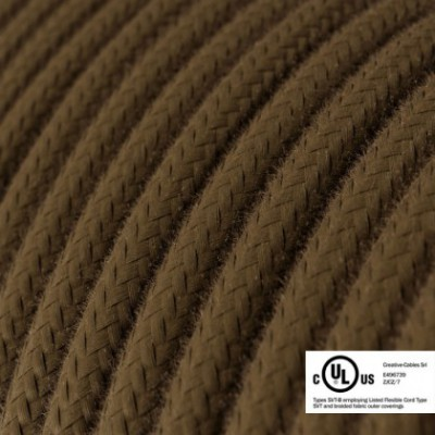 Round Electric Cable 150 ft (45,72 m) coil RC13 Brown Cotton - UL listed