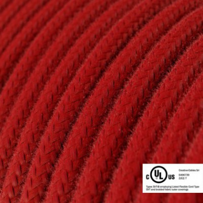 Round Electric Cable 150 ft (45,72 m) coil RC35 Fire Red Cotton - UL listed