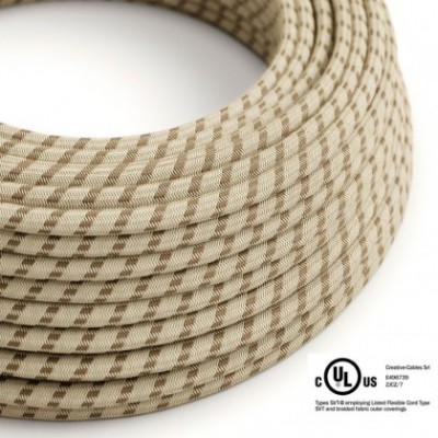 Round Electric Cable 150 ft (45,72 m) coil RD53 Stripes Bark Cotton and Natural Linen - UL listed