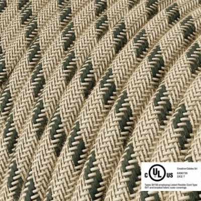 Round Electric Cable 150 ft (45,72 m) coil RD54 Stripes Anthracite Cotton and Natural Linen - UL listed