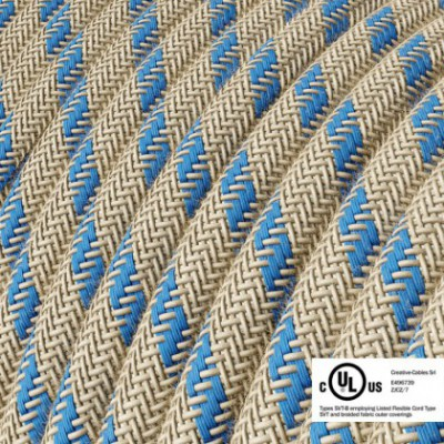 Round Electric Cable 150 ft (45,72 m) coil RD55 Stripes Steward Blue Cotton and Natural Linen - UL listed