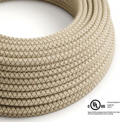 Round Electric Cable 150 ft (45,72 m) coil RD63 Lozenge Bark Cotton and Natural Linen - UL listed