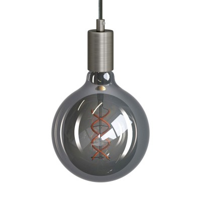 Pendant lamp with textile cable and metal details - Made in Italy