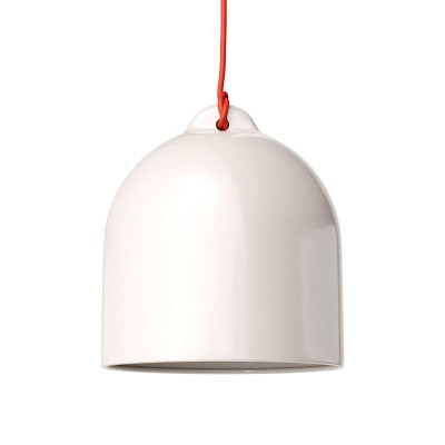 Lámpara colgante hecha en Italia con cable textil y pantalla Campana M de cerámica