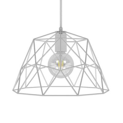 Lámpara colgante hecha en Italia con cable textil, pantalla Dome y detalles metálicos