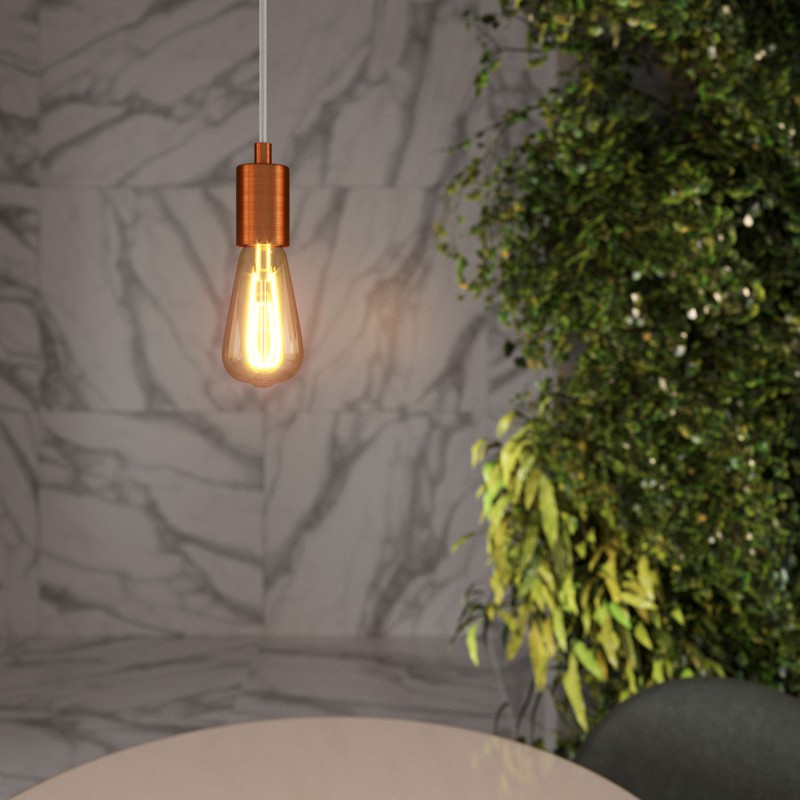 Pendant lamp with textile cable and satin metal details - Made in Italy