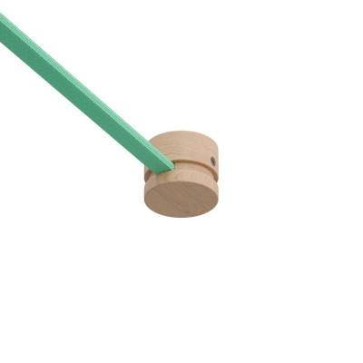 Pieza final madera Filé System para cable textil guirnalda. Fabricado en Italia