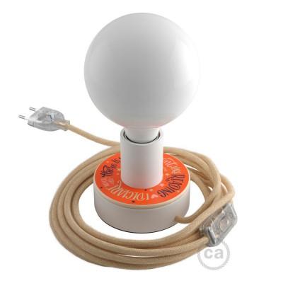 Posaluce MINI-UFO en madera doble cara Pemberley Pond, con cable textil, interruptor y enchufe de 2 polos
