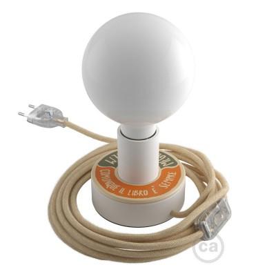 Posaluce MINI-UFO en madera doble cara BOLLAS DE LECTURA, completo con cable textil,interruptor y echufe de 2 polos
