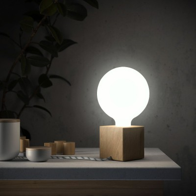 Posaluce Cubetto, lámpara de mesa en madera natural completa con cable textil, interruptor y enchufe inglesa