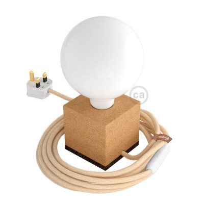 MoCo Posaluce Cubo de corcho natural completo con cable textil, interruptor y enchufe inglesa