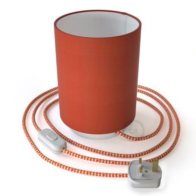 Posaluce de metal con pantalla de cilindro langosta Cinette, completa con cable textil, interruptor y enchufe inglesa