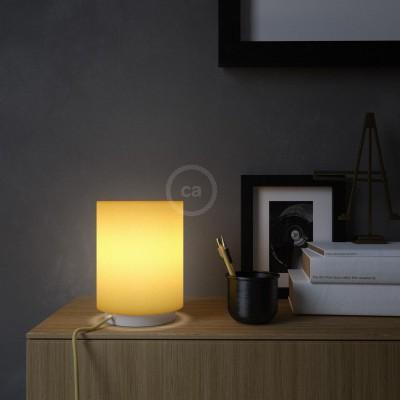 Posaluce de metal con pantalla de cilindro Amarillo Brillante, completo con cable textil, interruptor y enchufe inglesa
