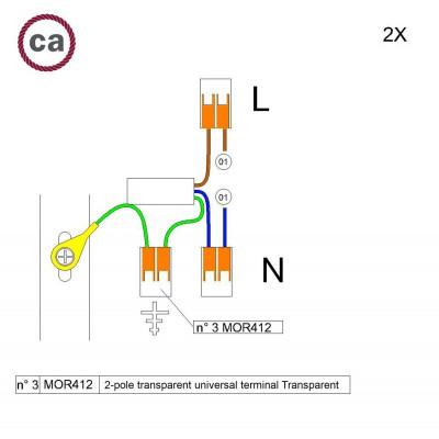 Kit de conexión WAGO compatible con cable 2x para Rosetón de 1 agujero
